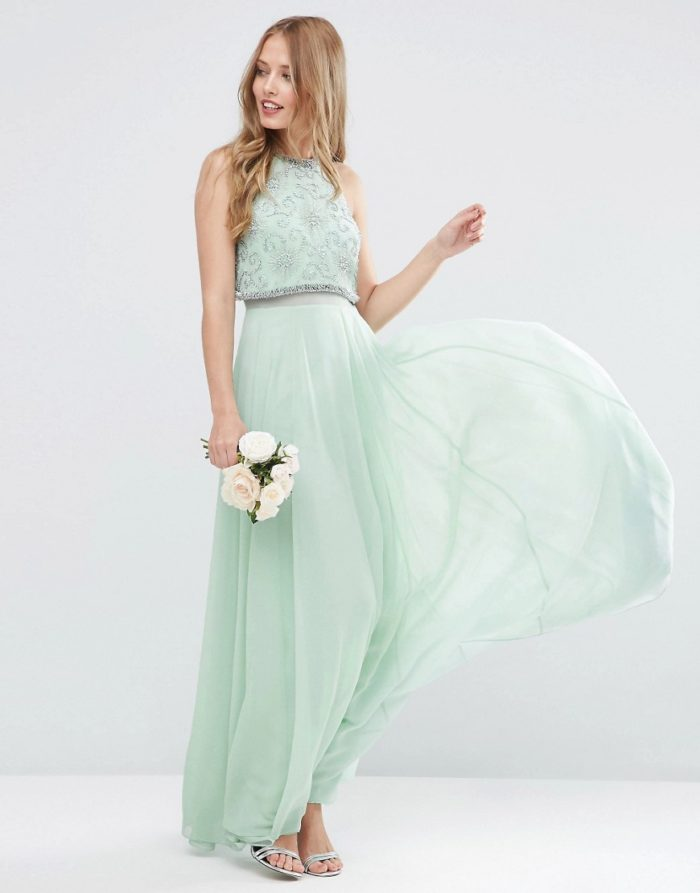 Mint green crop top gown | Boho bridesmaid green dress