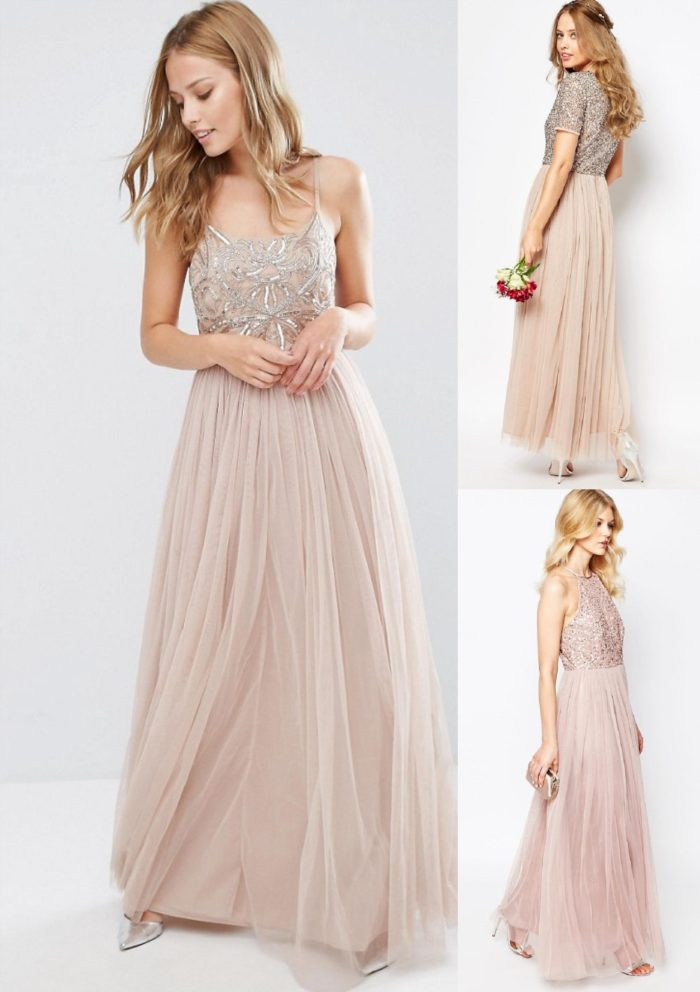 Tulle and sequin dresses for bridesmaids