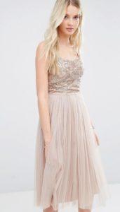 Embellished top tulle skirt bridesmaid dress