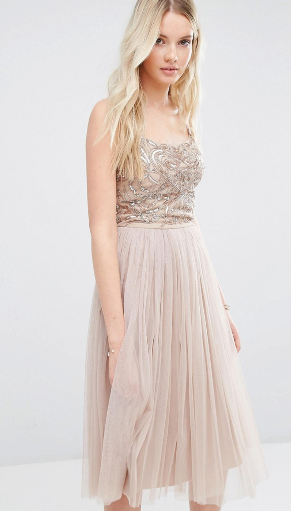 Embellished top tulle skirt bridesmaid dress