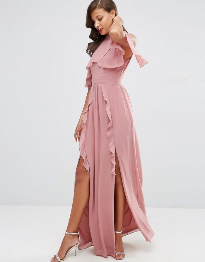 Dusty rose bridesmaid dress with flutter sleeves