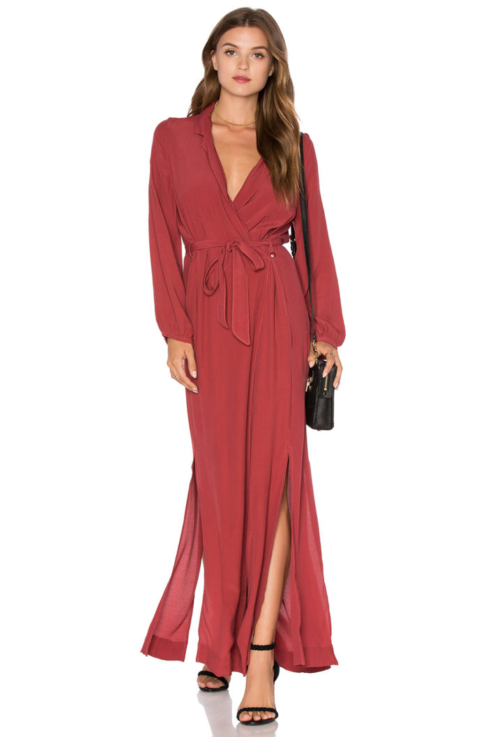 Long sleeve red wrap dress for fall