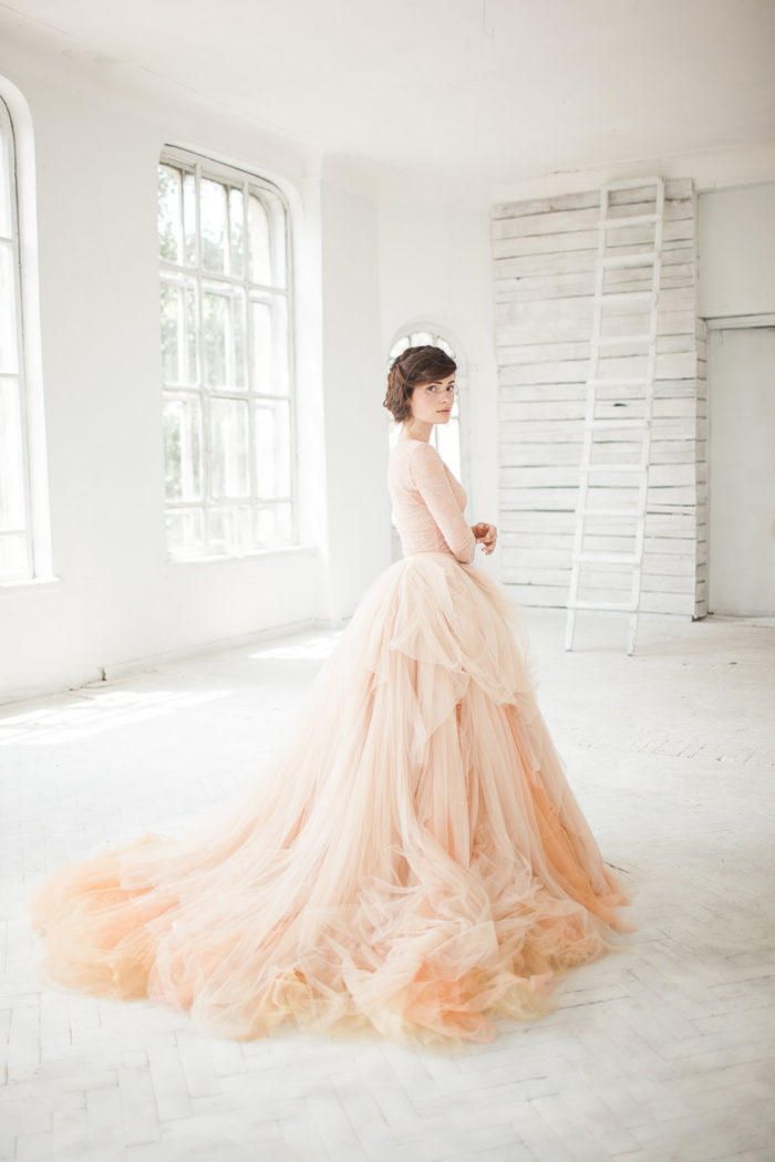Pink and blush wedding dresses dress for the wedding for Tulle skirt wedding dresses