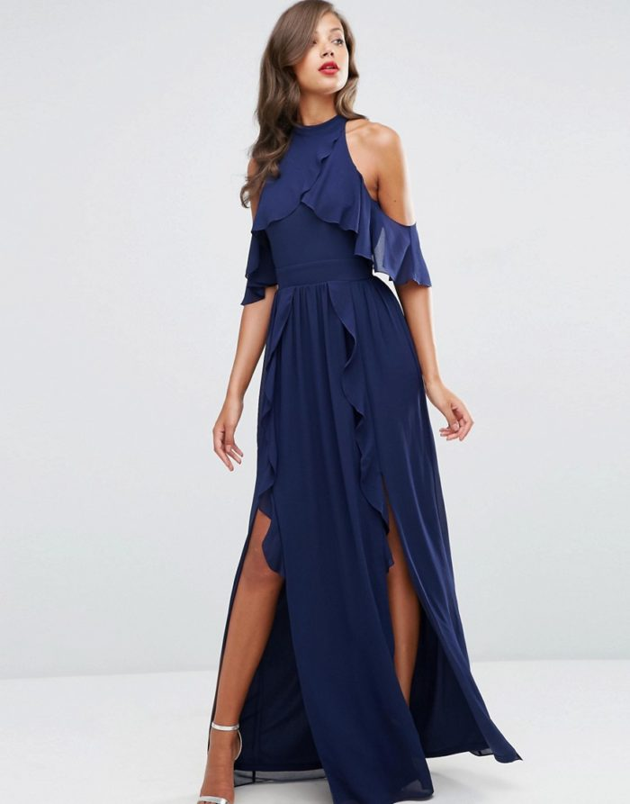 Navy blue ruffle maxi dress