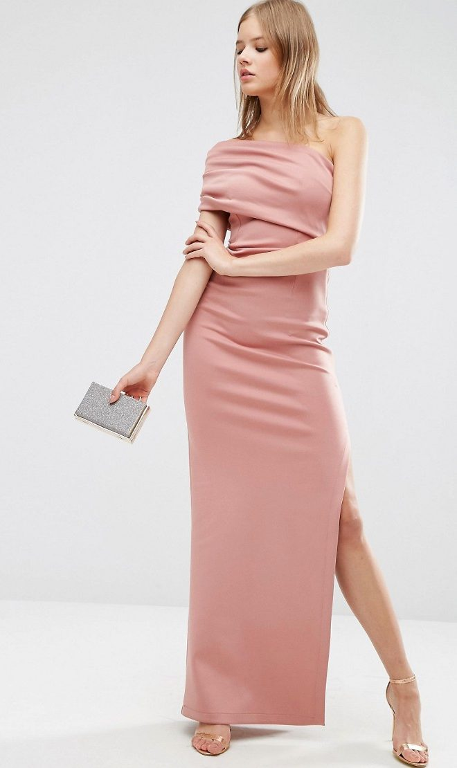 One shoulder rose pink maxi dress
