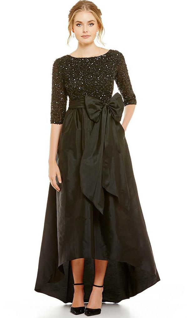 Black beaded gown with full skirt