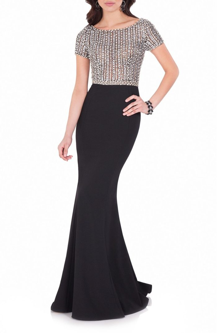 Formal Black and Crystal Evening Gown