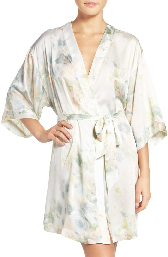 Watercolor floral bridal robe for getting ready