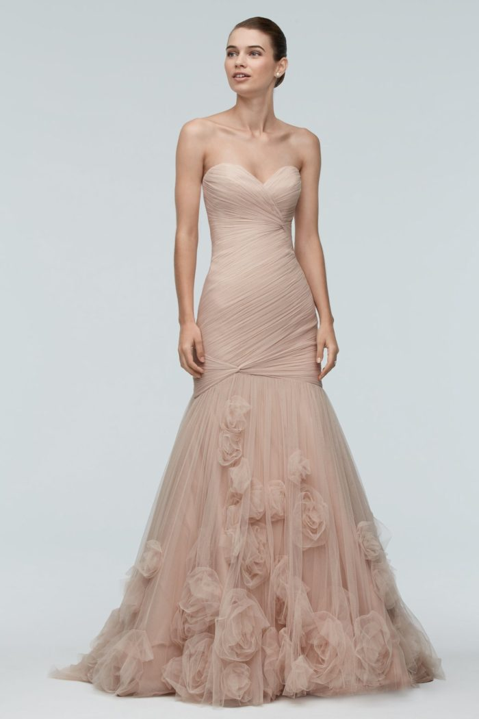 Pink and blush wedding dresses dress for the wedding for Wedding dresses with roses on them