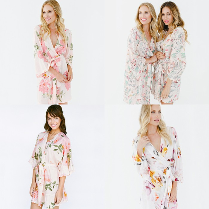 Floral getting ready robes brides and for wedding parties from Plum Pretty Sugar