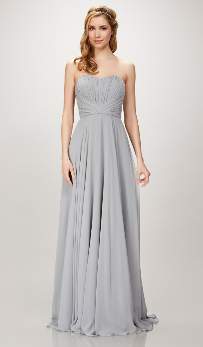 Strapless gray bridesmaid dress