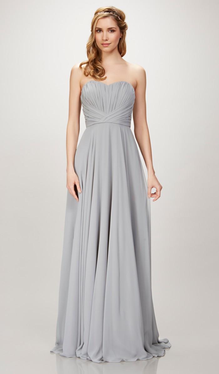 Strapless gray bridesmaid dress