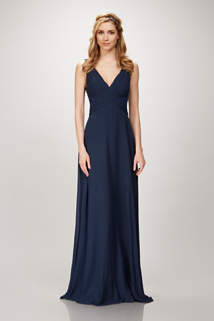 Navy blue V-neck lace insert bridesmaid Dress
