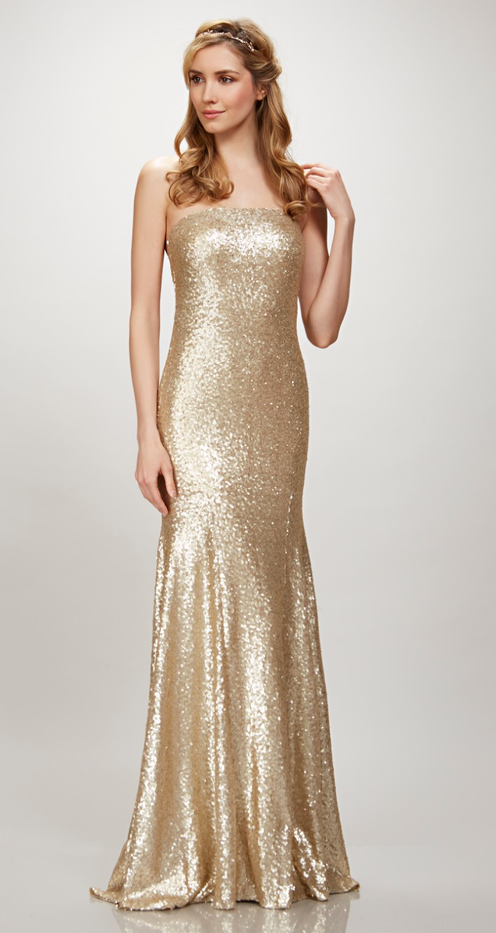 Strapless Gold Sequin Bridesmaid Dress