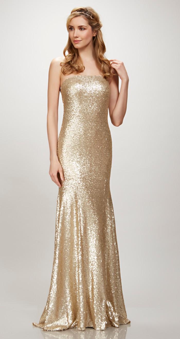 Strapless Gold Sequin Bridesmaid Dress