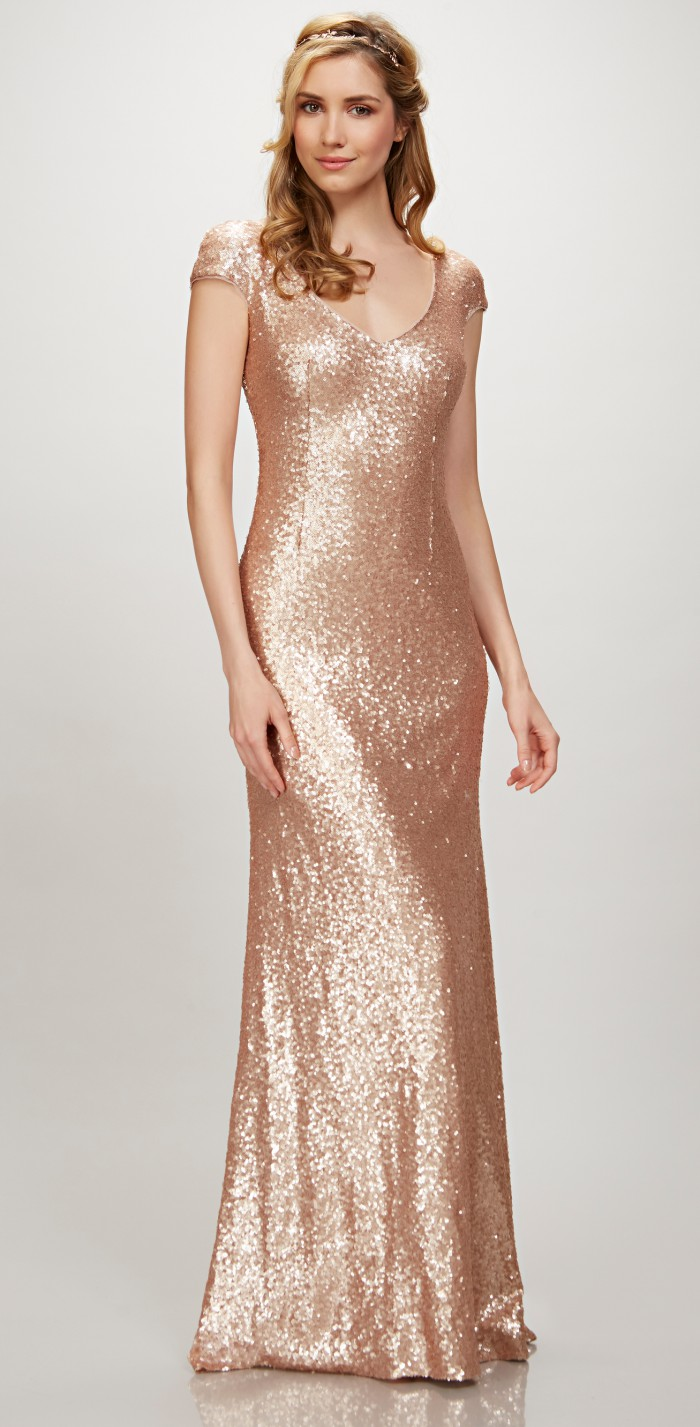 Rose Gold Sequin Gown with Cap Sleeves