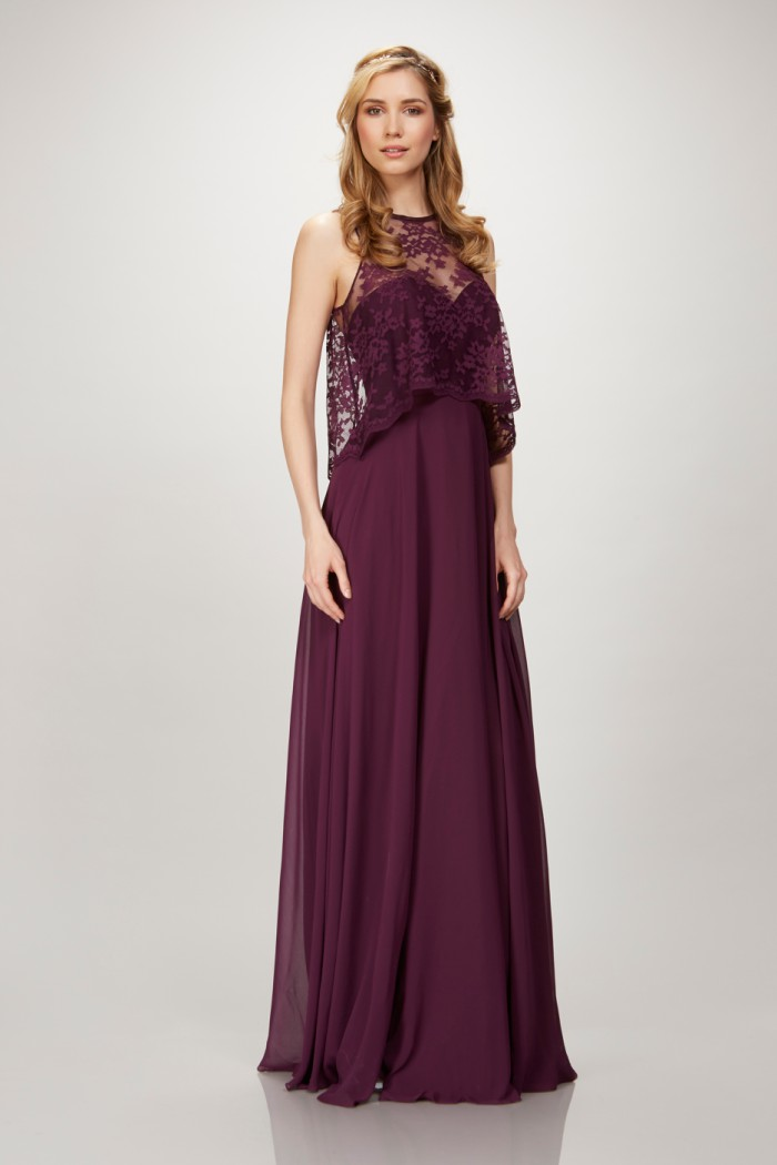 Lace crop top bridesmaid dress in Aubergine