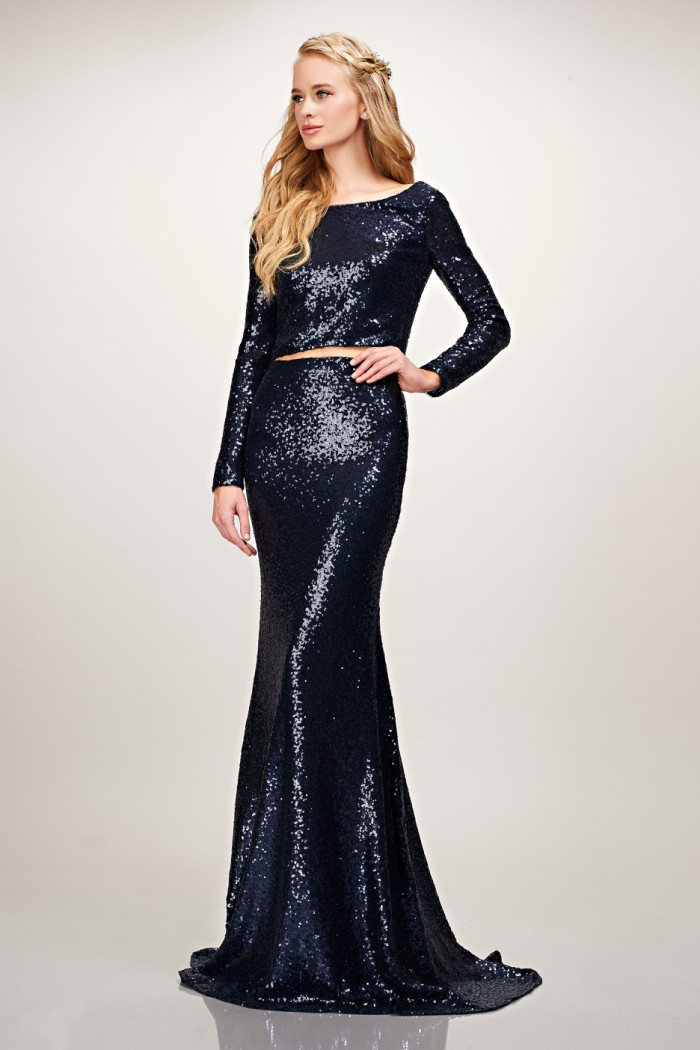 Long sleeve navy blue crop top and sequin skirt