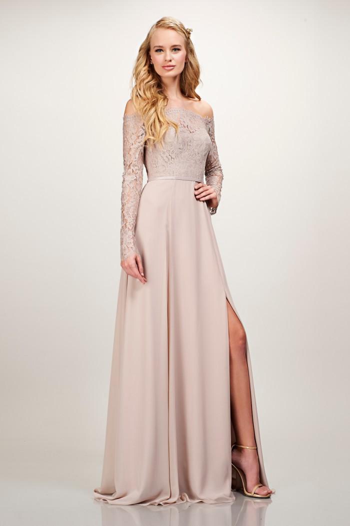 Neutral lace off the shoulder bridesmaid dress