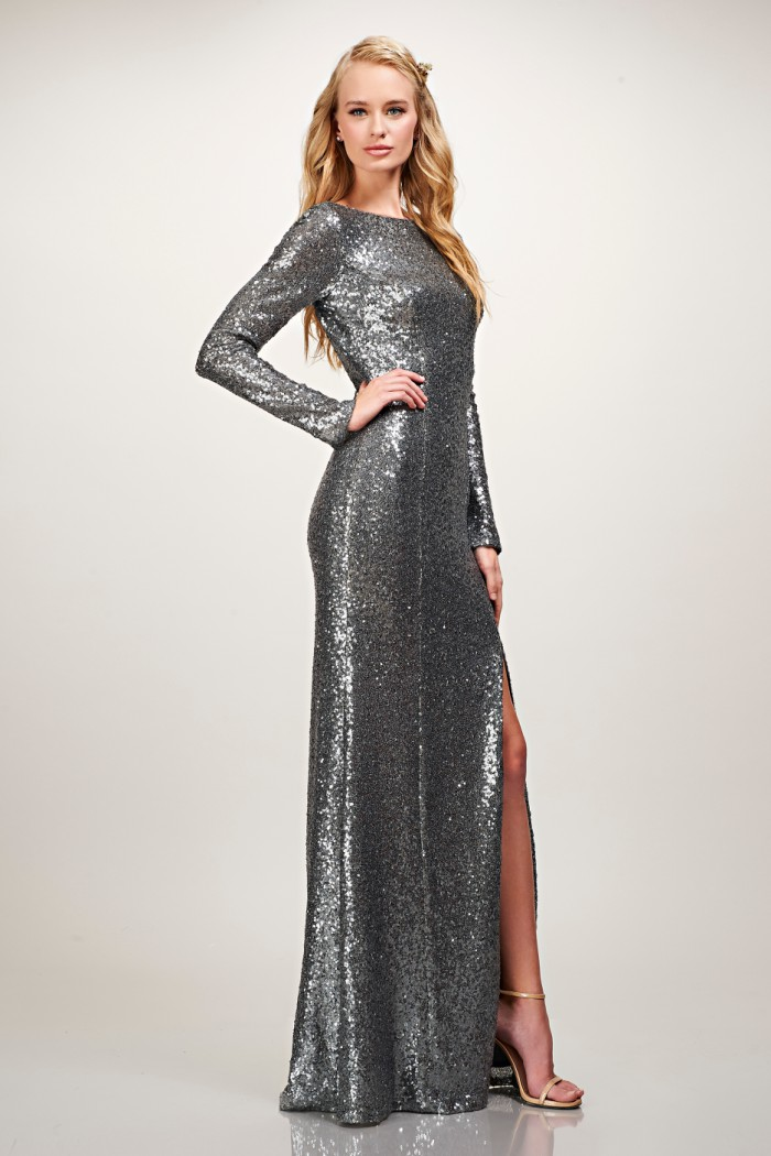 Long sleeve all over silver sequin gown