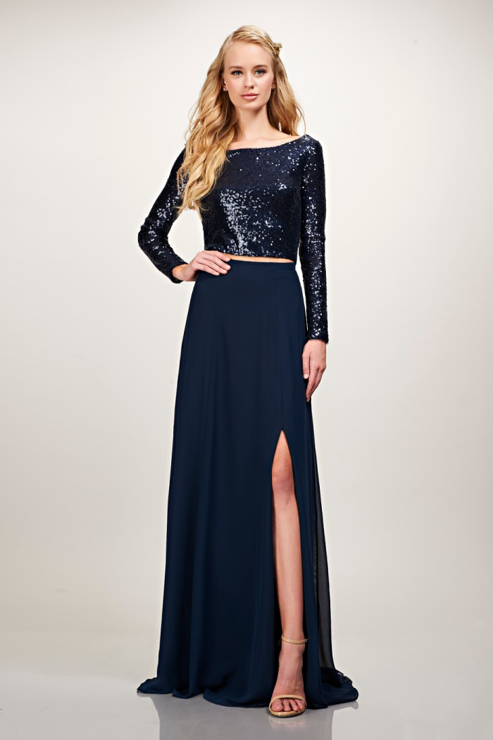 Navy blue crop top in sequins with skirt for bridesmaids