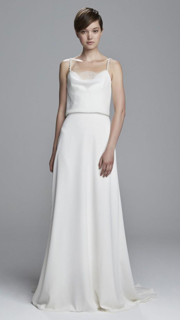 Sleek Silk Wedding Dress with Crystal Detail | Rebekah by Christos Bridal Wedding Dresses 2017
