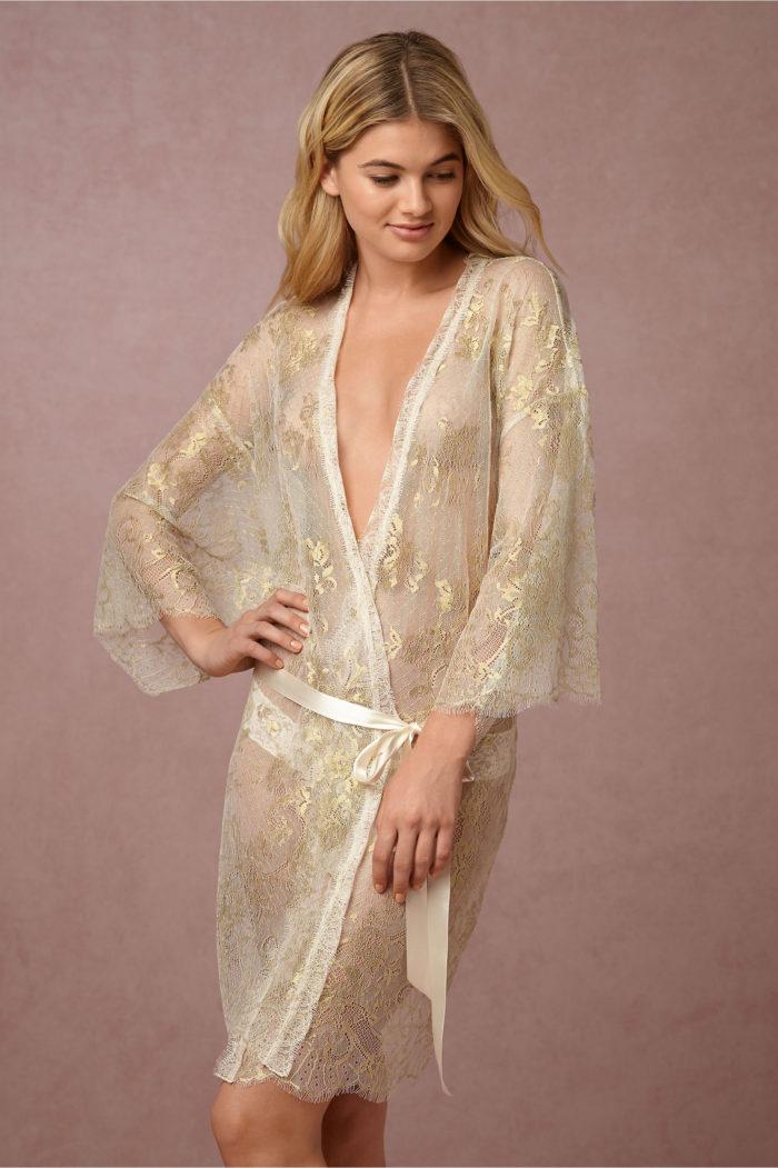 Gold lace bridal robe
