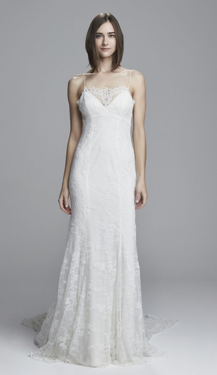 All Over Lace Wedding Dress with Spaghetti Straps |