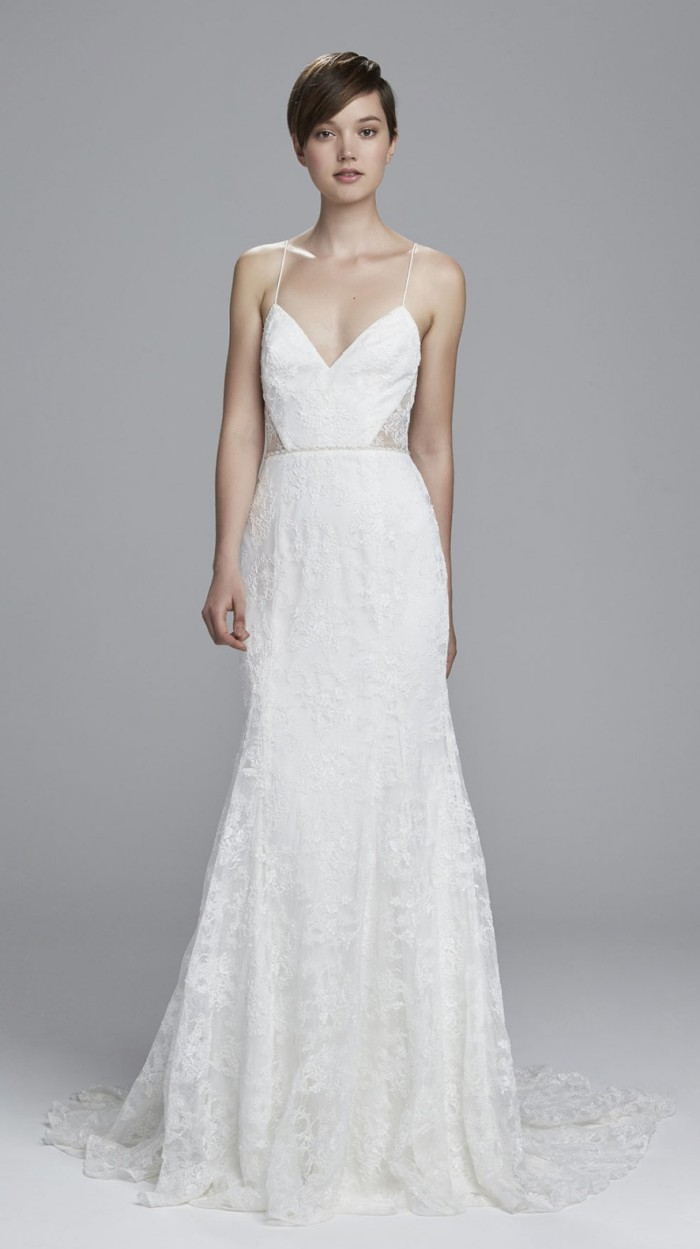 Lace Fit and Flare Wedding Dress with Thin Straps and Sheer Lace Sides | Mindy by Christos Bridal