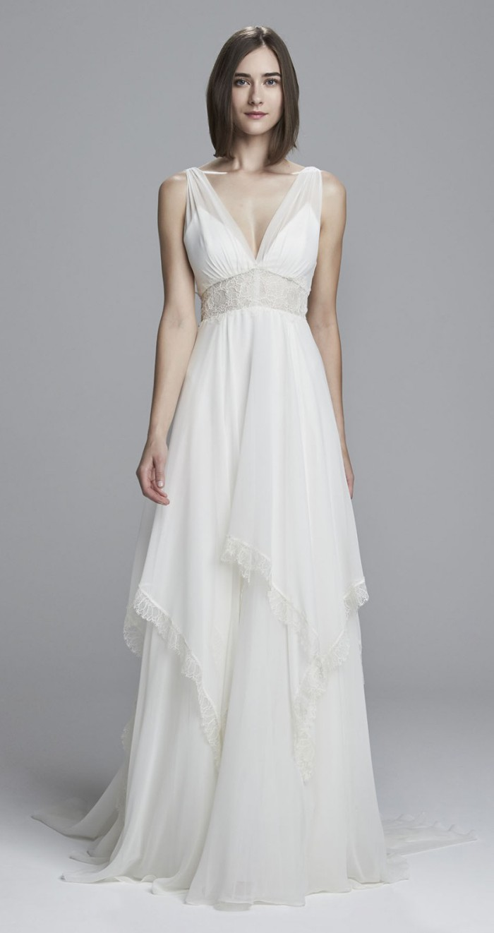 Silk Chiffon Wedding Dress | Clea by Christos Bridal