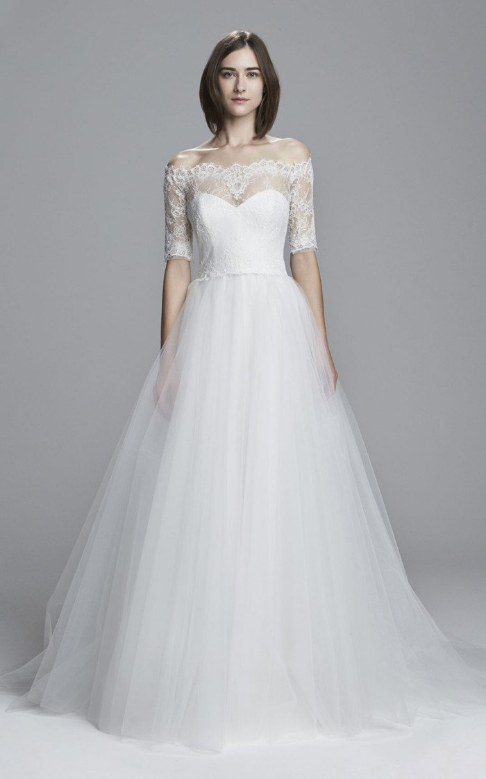 Tulle Off the Shoulder Wedding Dress | Wedding Dress with Lace Sleeves and Ball Gown Skirt. Brinna by Christos