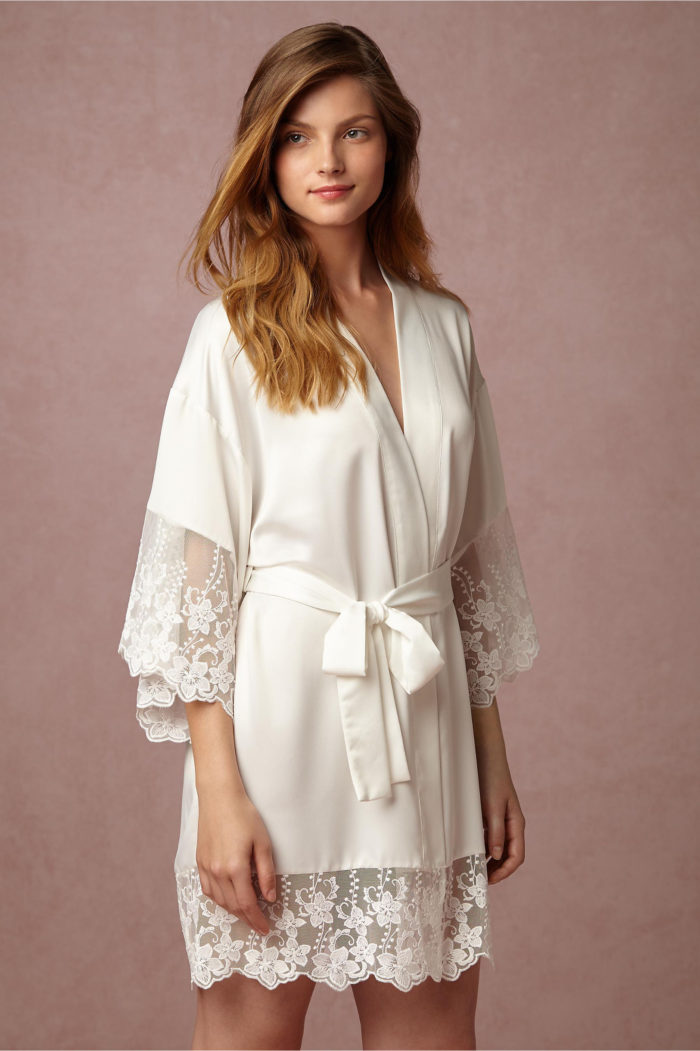 White robe with lace trim bridal robe