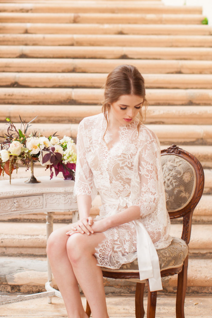 Handmade lace wedding robe