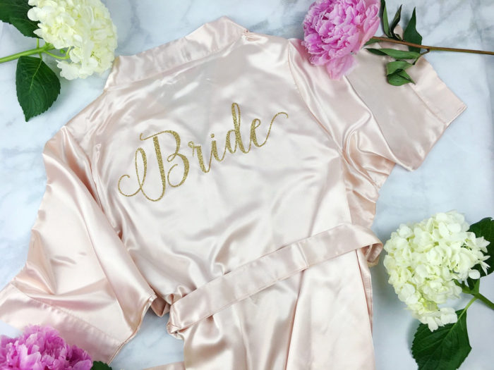Pink Satin Bride Robe. Cute getting ready robe for the bride to be,