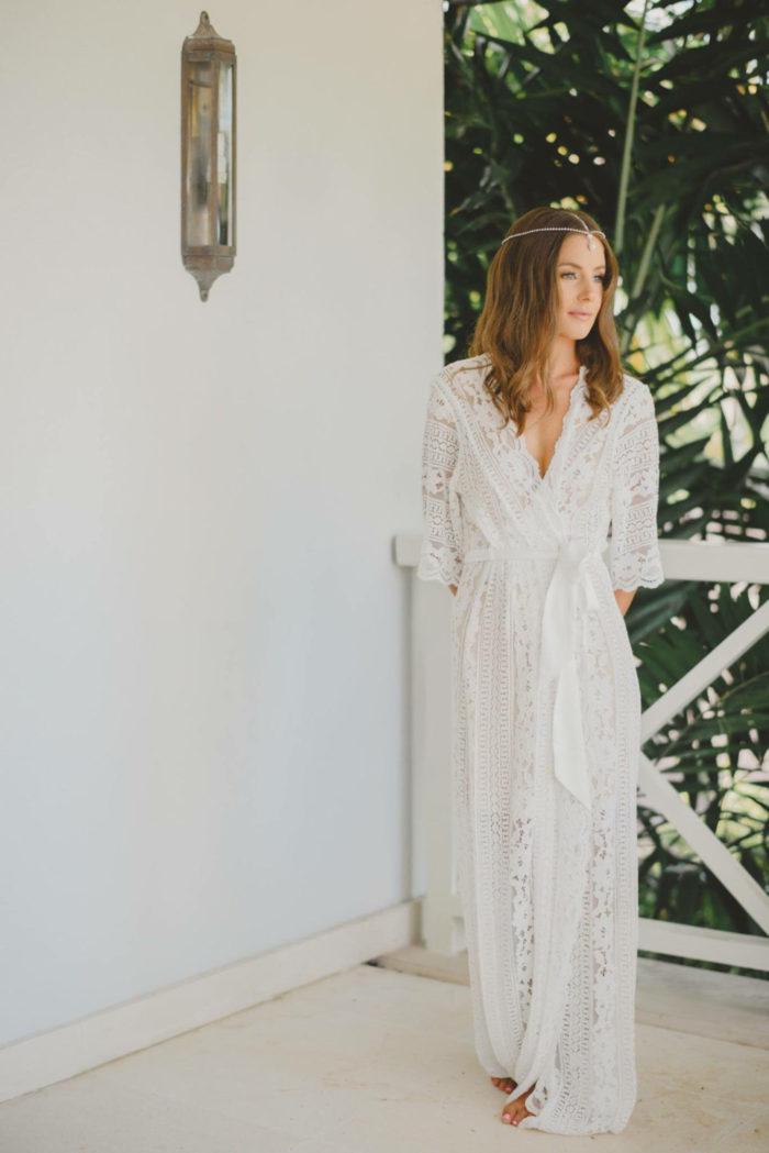 Full length white lace bridal wedding robe