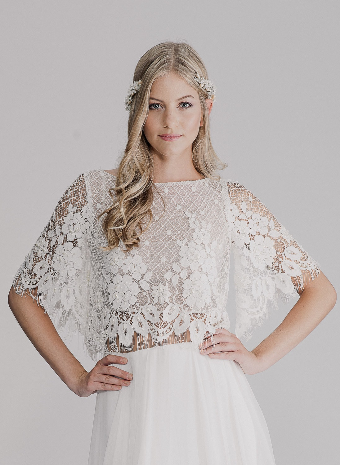 Lace crop top bridal overlay by Yoav Rish