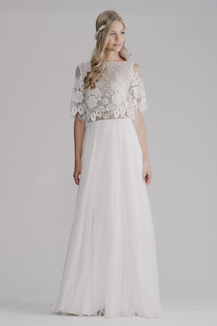 Lace top two piece wedding gown | Designer Wedding Dress by Yoav Rish