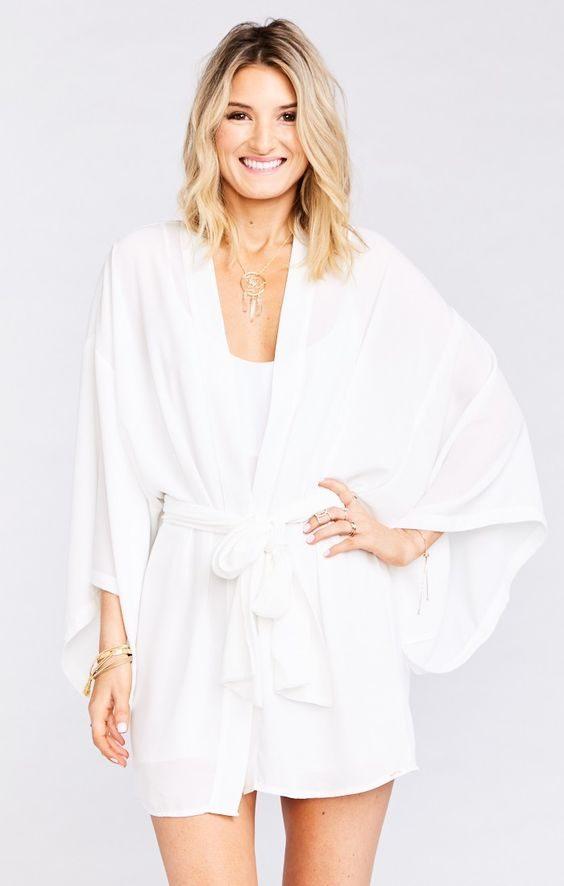 Cute white kimono style robe