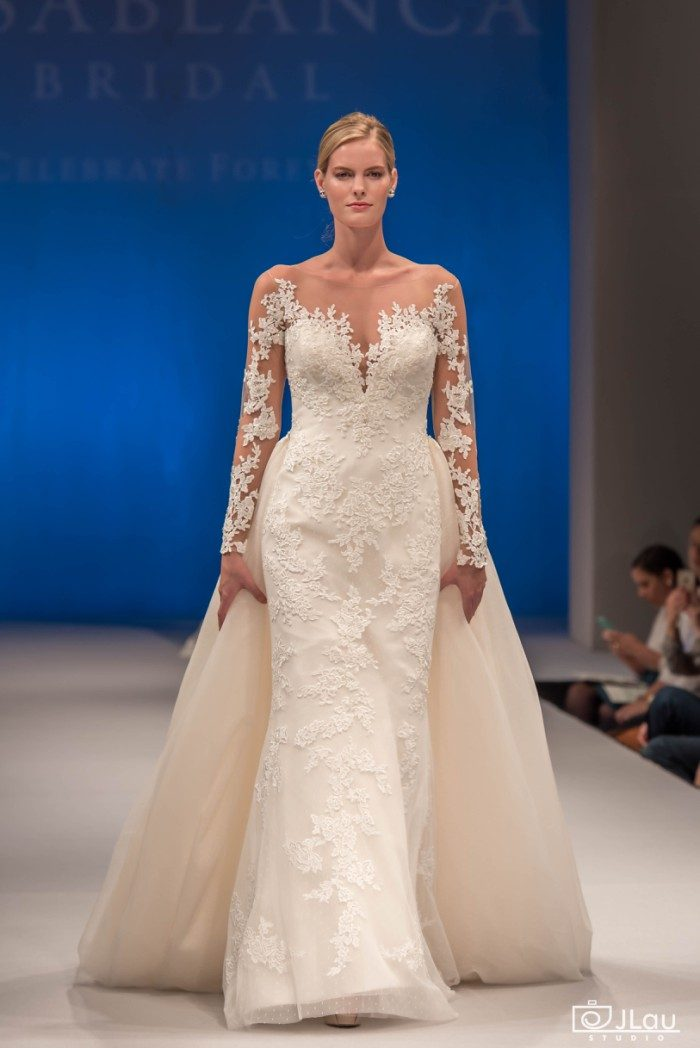 Long sleeve lace wedding dress with sheer lace sleeves | Wisteria by Casablanca Bridal