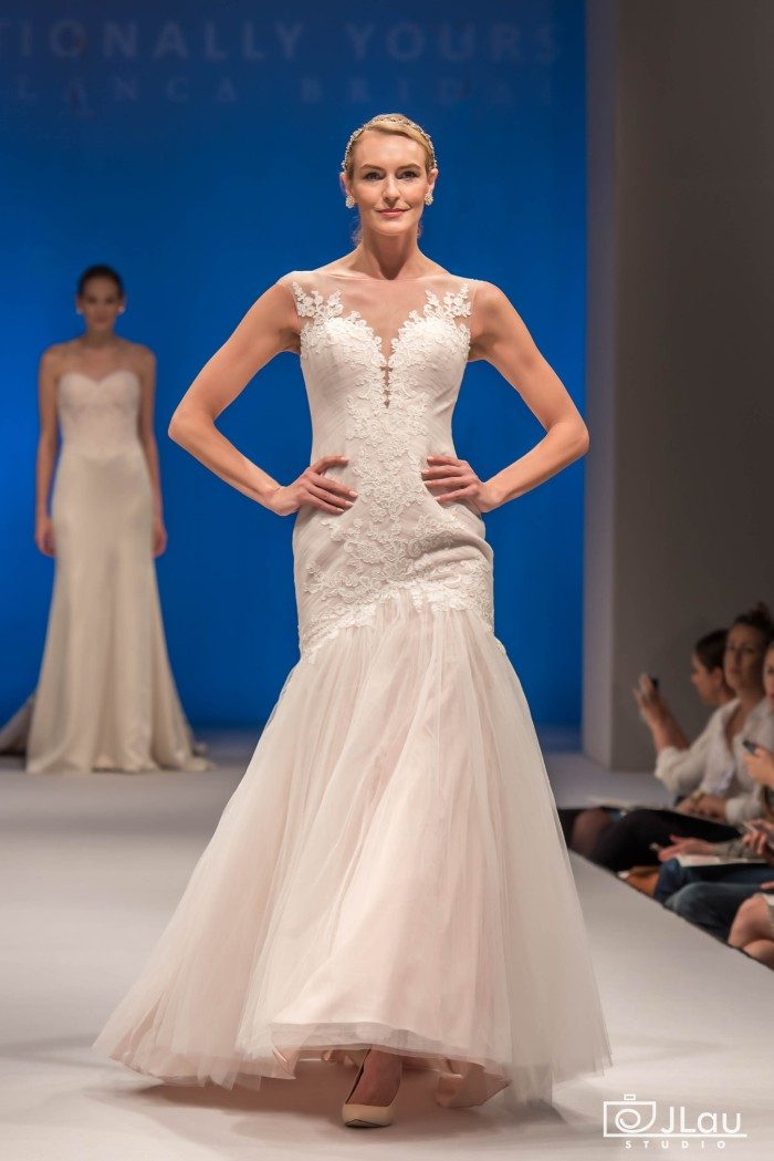 Plunging neckline flared style wedding gown | Style BL220 Bliss Beloved by Casablanca Bridal