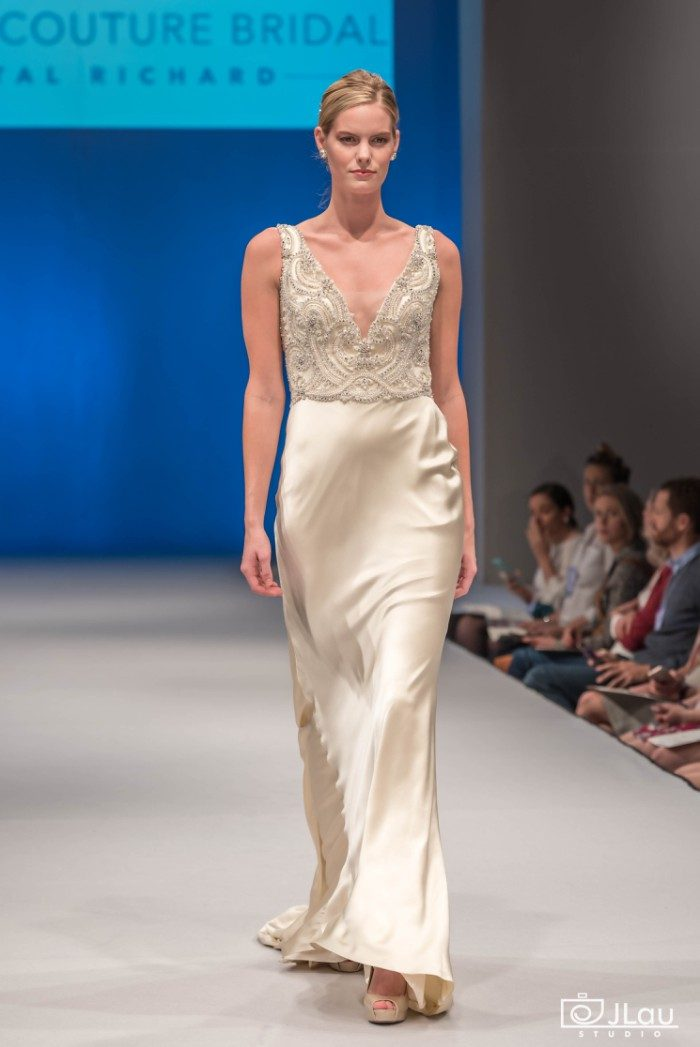 Silk Charmeuse fit and flare Wedding Gown Wedding Dress by Amare Couture