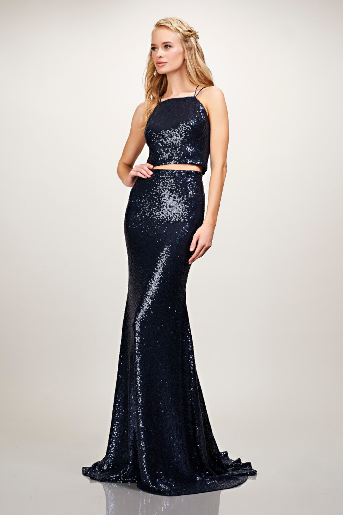 Two piece sequin bridesmaid dress
