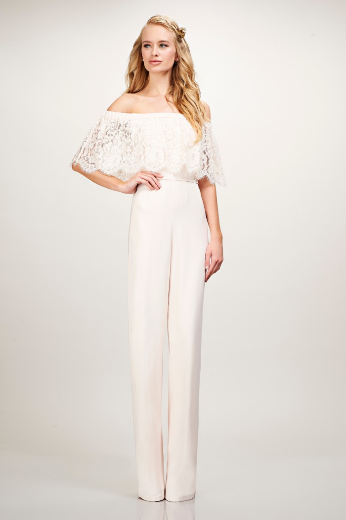 Off the shoulder lace jumpsuit for bridesmaids or groomsmaid