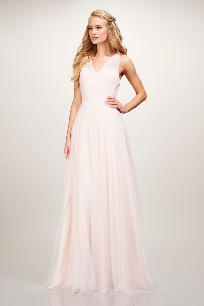 Blush tulle bridesmaid dress with straps