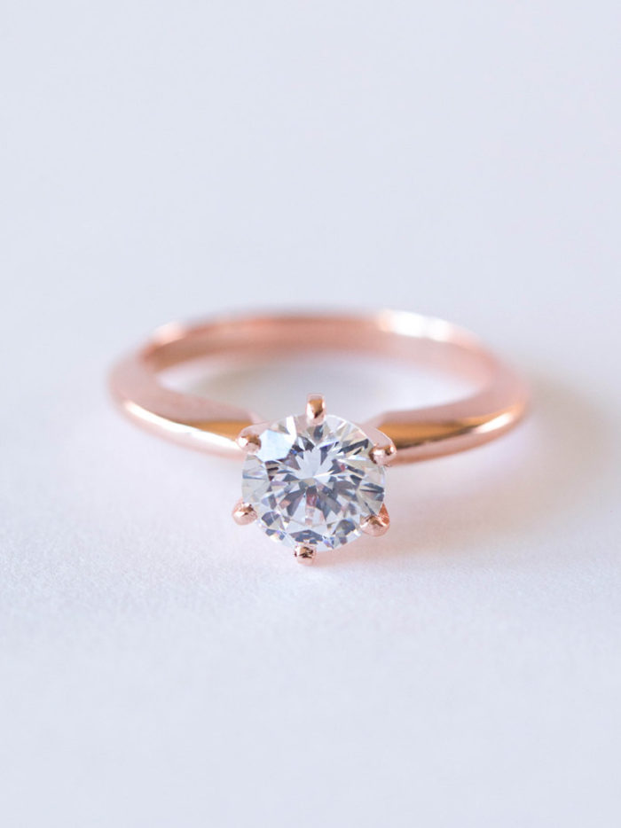 Rose Gold Solitaire Engagement Ring | By Davie & Chiyo