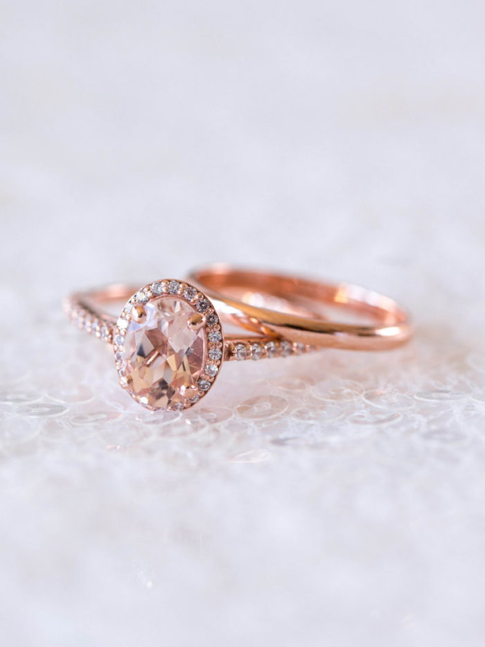 Halo Moissanite Ring in Rose Gold | Created by Davie and Chiyo | Image by Desy Cheng