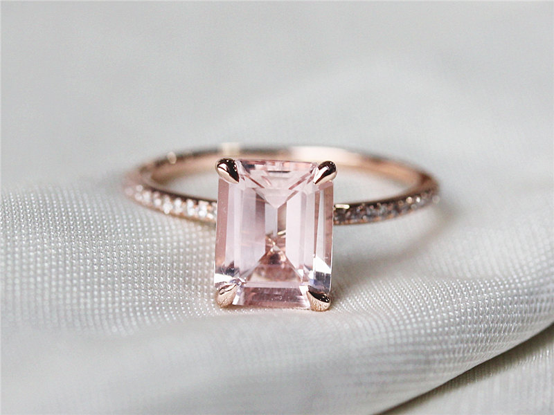 Emerald Cut Rose Gold Ring
