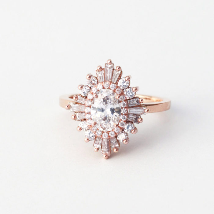 Unique Modern Art Deco Rose Gold Ring | Created by Heidi Gibson Designs