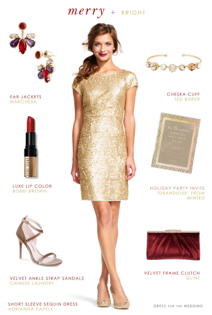 Short Sleeve Gold Sequin Dress