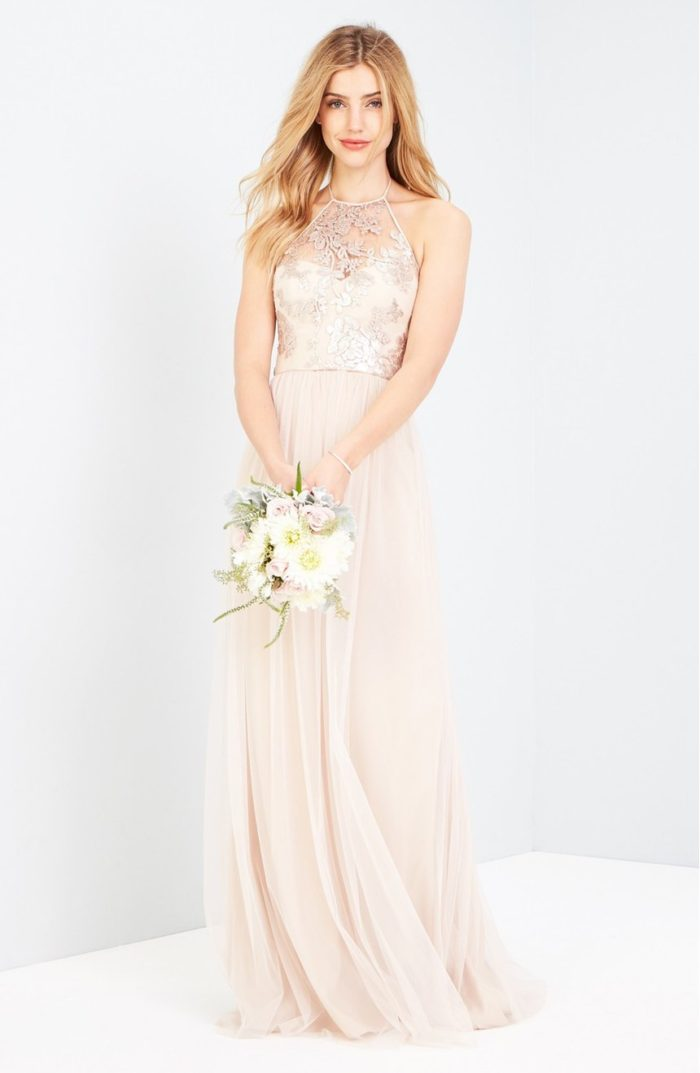 Lace and Sequin Amsale Sheridan Bridesmaid Dress